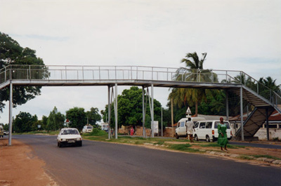 photo of steel pedestrian bridge